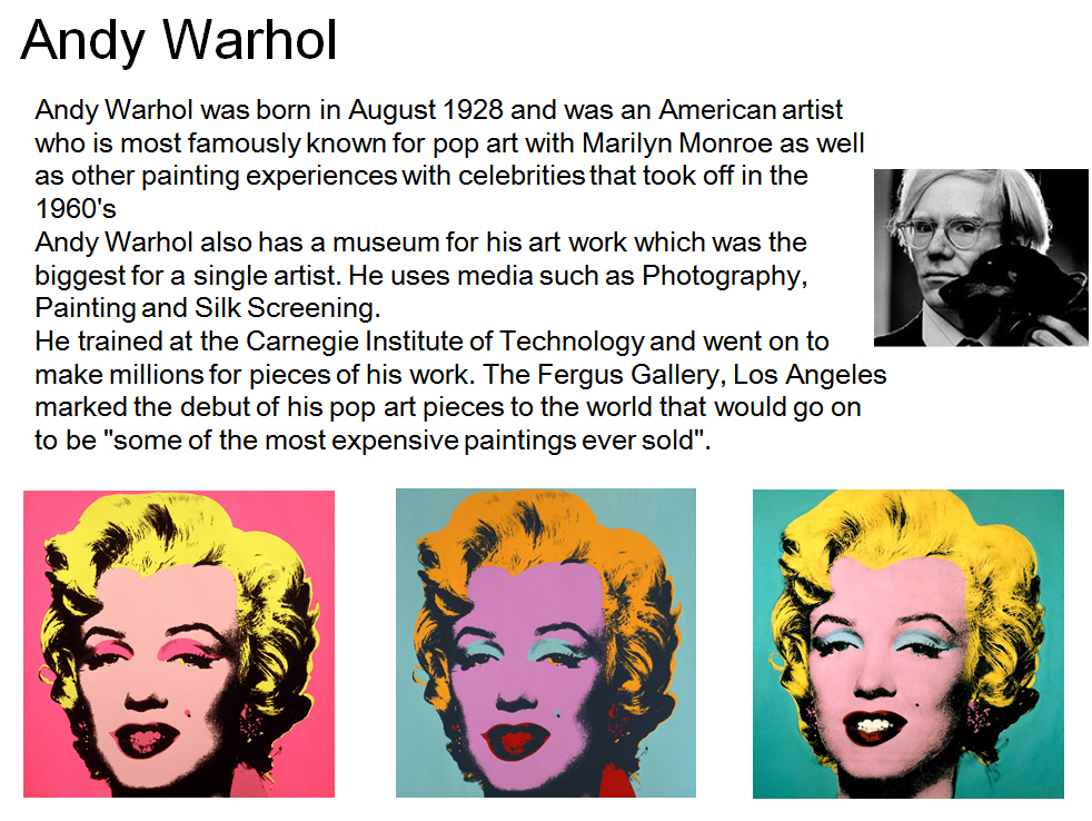 andy warhol research Abstract - this paper breaks out of the box by discussing the work of the artist andy warhol as a form of consumer research the paper asserts that warhol's career- successful artist, experimental filmmaker, prolific writer and diarist, celebrity-offers insights into consumer culture that reinforces, expands, and illuminates aspects of.