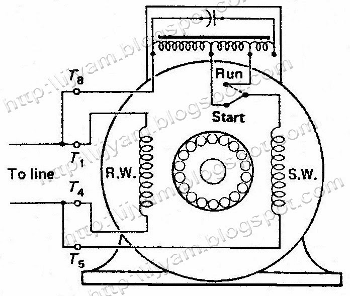 electrical control circuit schematic diagram of two value capacitor 220 Single Phase Wiring Diagram figure 5 a two value capacitor run motor externally reversible
