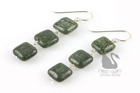 Green Moss Jasper Gemstone Beaded Earrings (E188)