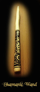 Shamanic wand in Hornbeam - pyrographed.