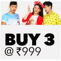 Buy Clothing, Footwear & Accessories Buy any 3 & Rs. 100 cashback for Rs.1048 : Buy To EarnJabong