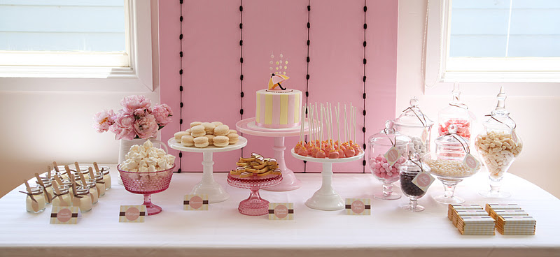 umbrella baby shower pink yellow decorations dessert table