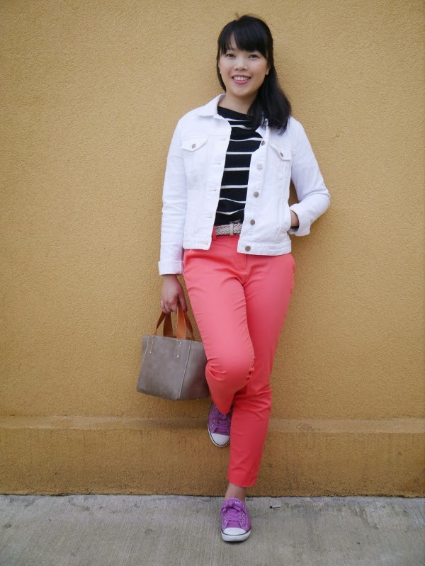 Striped sailor sweater, coral trousers, white denim jacket, and orchid sneakers