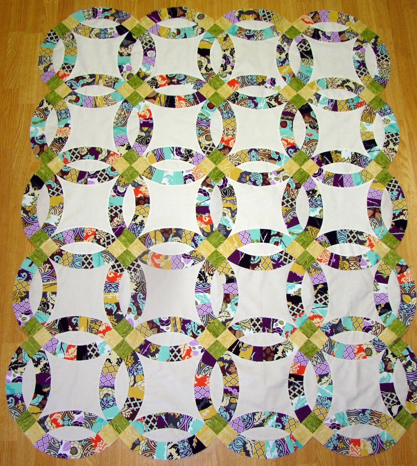 SewCraftyJess Double Wedding Ring Quilt Top
