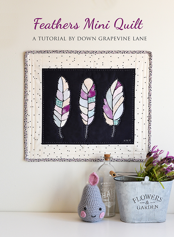 feather applique mini quilt