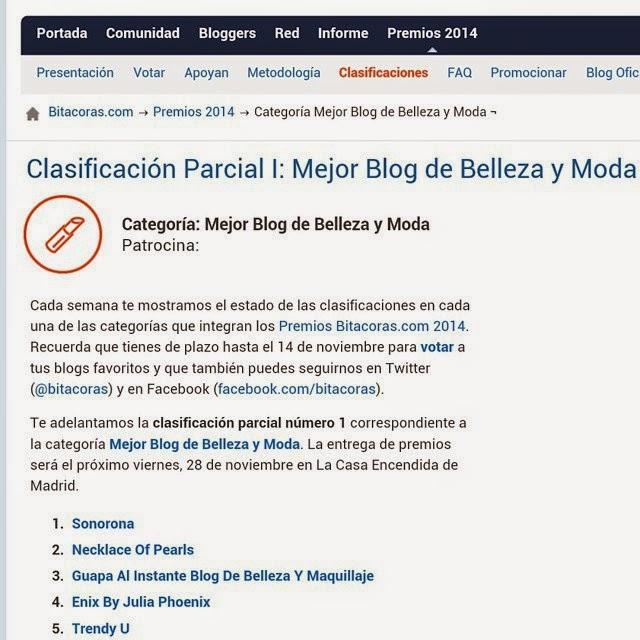 clasificacion parcial Premios Bitacoras