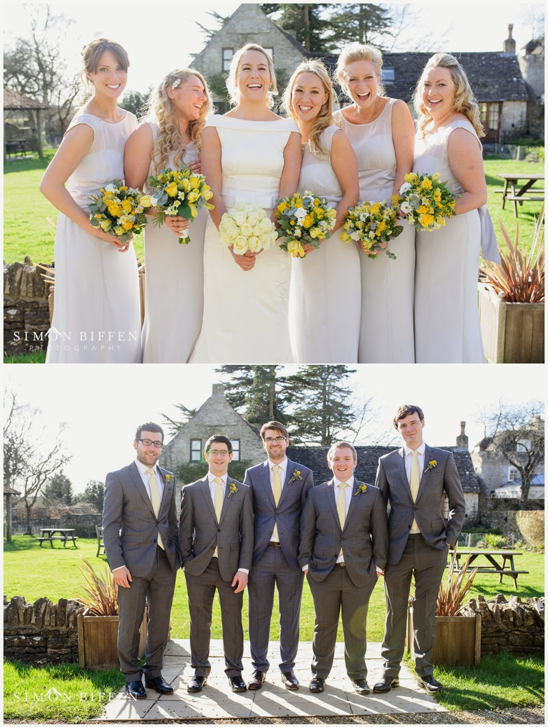 Bridesmaids and ushers groups shots at Great Tythe Barn