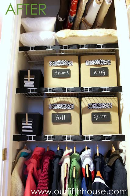 organizes linen closet