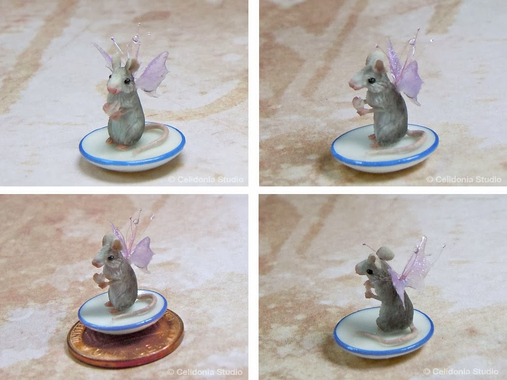 OOAK MIniature Mouse sculpted in polymer clay