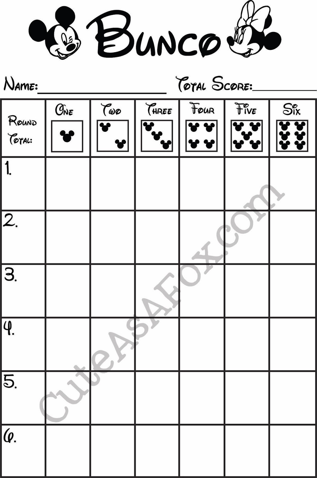 It is a photo of Vibrant Bunco Tally Sheets Printable