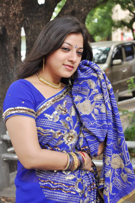 keerthi chawla spicy in blue saree hot photoshoot