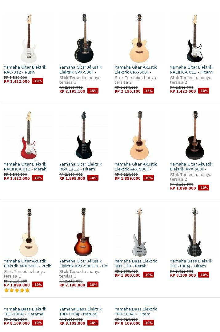 Daftar Harga Gitar Elektrik Listrik Terbaru Harga Gitar