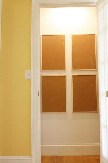 corkboard grid on pantry wall