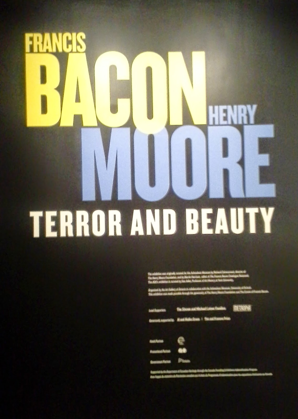 Francis Bacon and Henry Moore: Terror and Beauty exhibit at the AGO in Toronto culture art art matters Melanie.Ps blogger The Purple Scarf