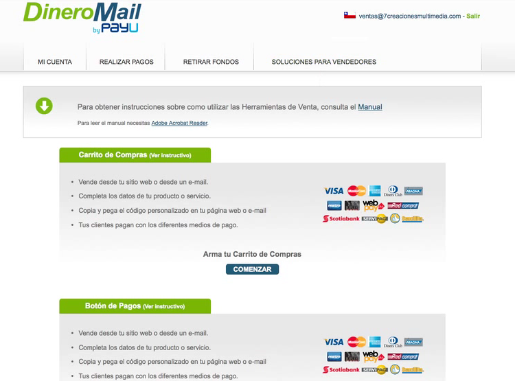 DineroMail Account Settings Screen