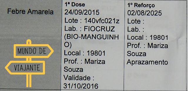 Dados da vacina da febre amarela no cartão de vacinação