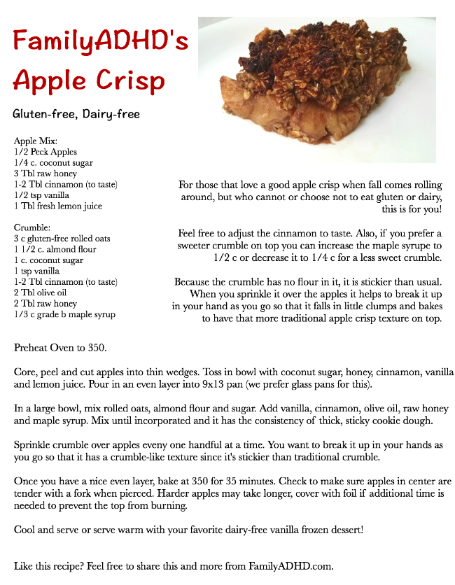 Gluten-free Dairy-free Apple Crisp Recipe by FamilyADHD.com