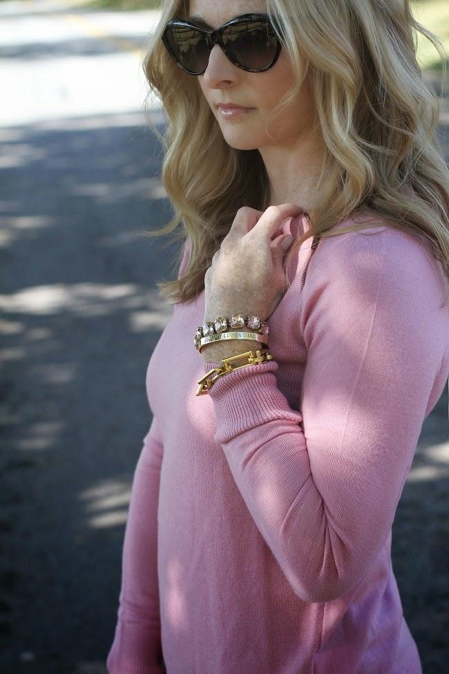 jcrew bracelet, julie vos bracelet, accessory concierge fight like a girl bracelet, julie vos ring, saint laurent sunglasses, hourglass lipstick