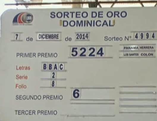 dominical de la loteria nacional de panama domingo 7 de diciembre 2014