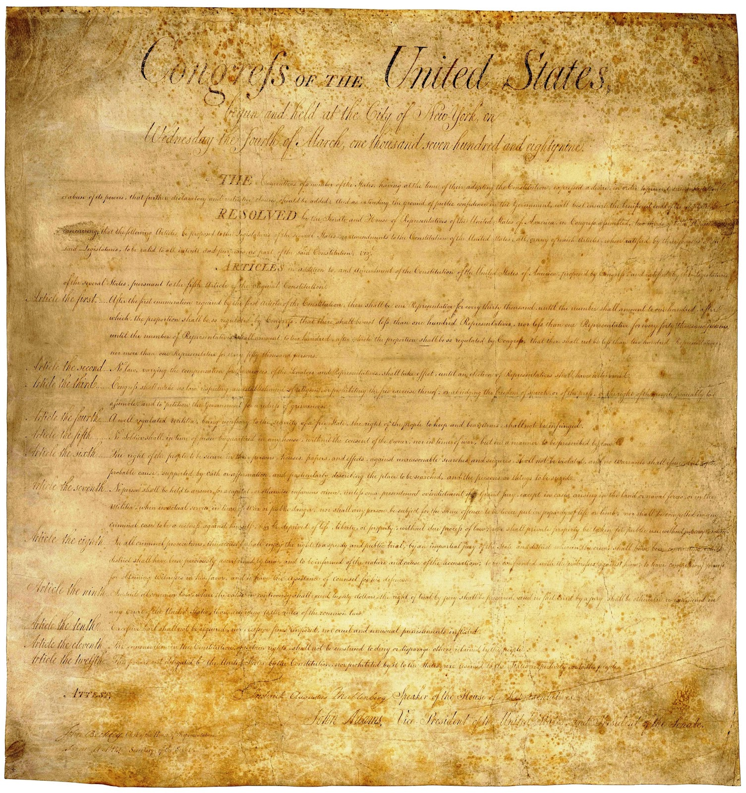 the amendment one of the united states bill of rights The united states human rights establishing a universal human rights system it was one of the leaders in creating bill of human rights.
