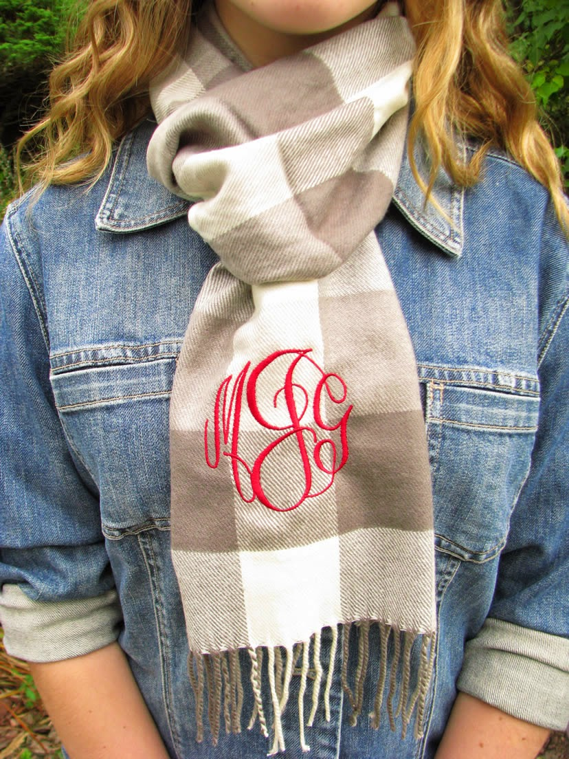 gray check monogram scarf