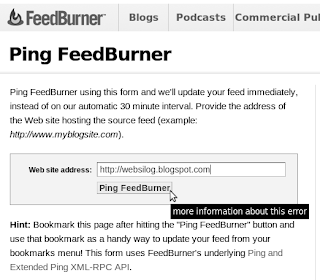 how to tell feedburner that your blog has been updated