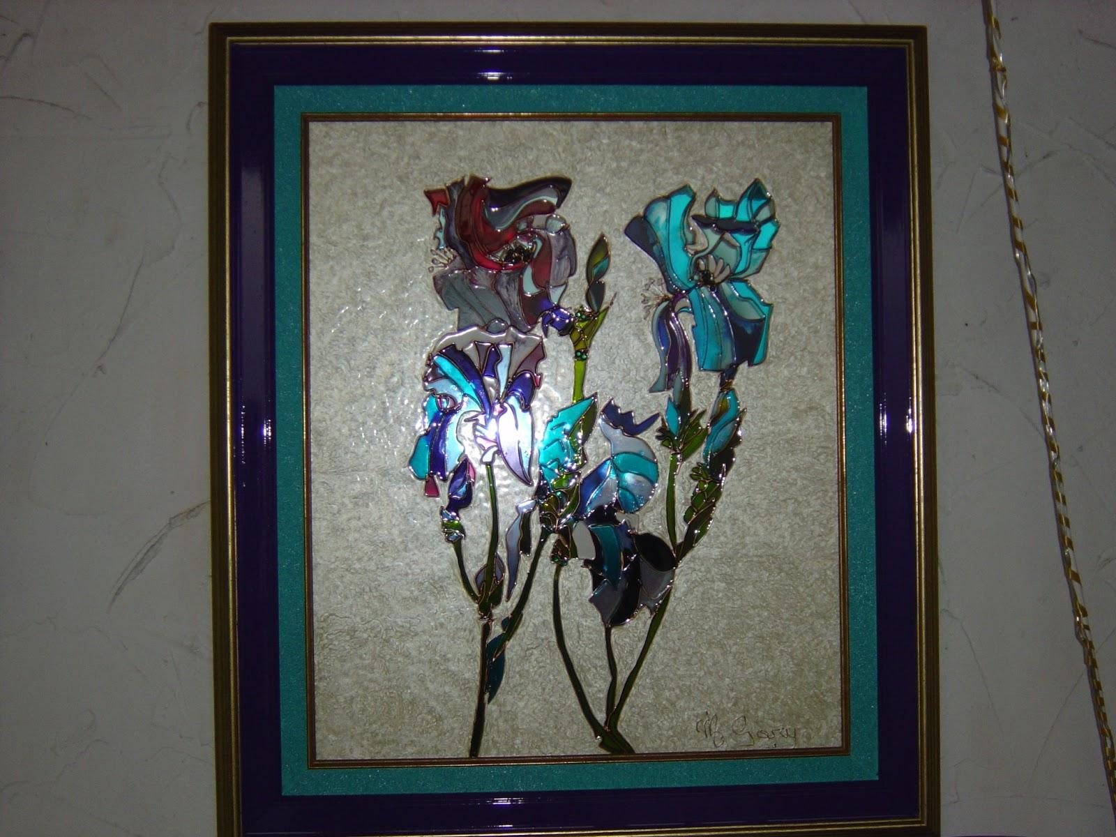 le verre soi peinture sur verre avec incrustation d 39 clats de min raux les iris 120 vendu. Black Bedroom Furniture Sets. Home Design Ideas