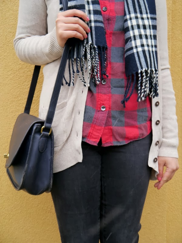 Cozy layers: Plaid scarf and buffalo plaid shirt, long oatmeal cardigan, navy blue wellies and Coach city bag.