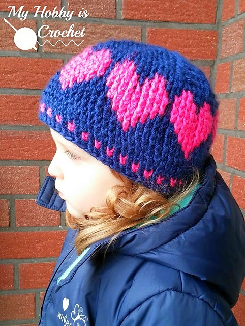 free crochet pattern fair isle heart beanie
