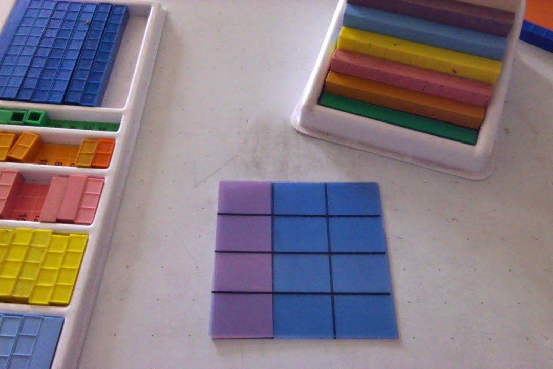 base ten blocks for fractions, fractions tiles, multi-tens, top tray