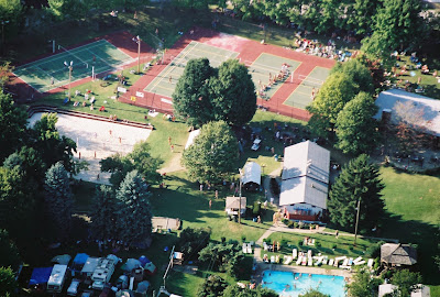 Aerial of nude volleyball superbowl at White Thorn Lodge