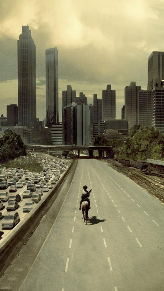 The Walking Dead Rick Ride Horse Atlanta City  Galaxy Note HD Wallpaper