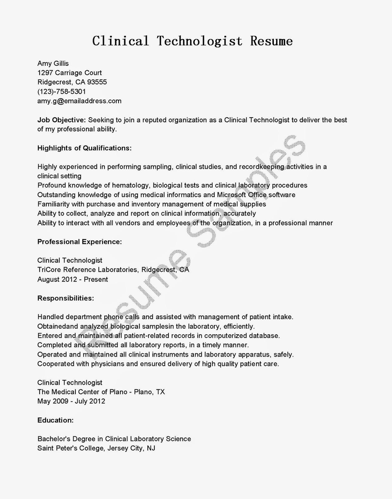 Resume Samples Clinical Technologist Resume Sample