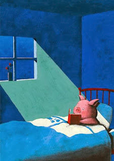 pig reading a book in bed illustration by Japanese illustrator Yusuke Yonezu