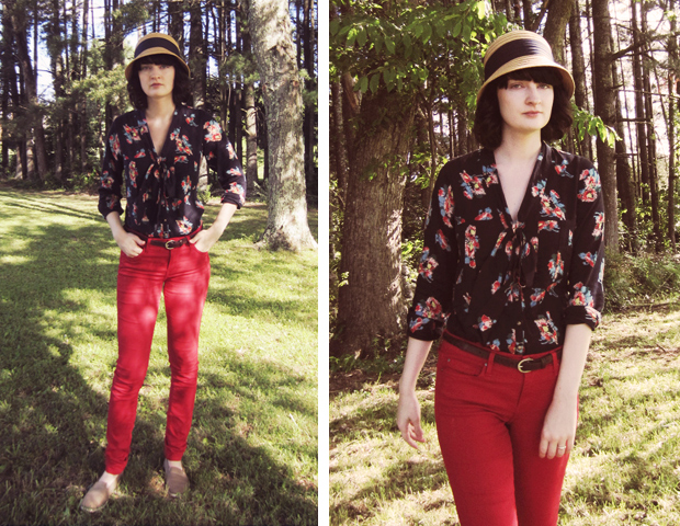 Spring outfit - how to style red jeans.