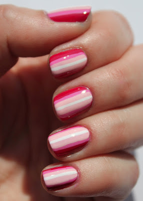 Pink ombre stripes nail art