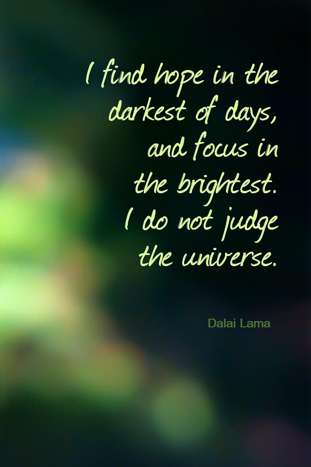 visual quote - image quotation for ACCEPTANCE - I find hope in the darkest of days, and focus in the brightest. I do not judge the universe. - Dalai Lama