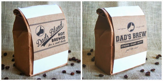 Download and print these free coffee labels, perfect for Father's day or Dad's birthday!