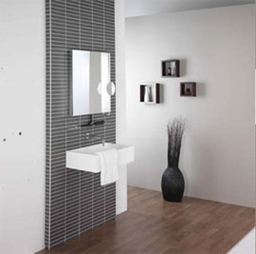 Above the bathroom sink Livorno cabinet with light