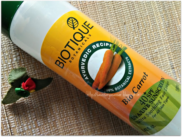 Biotique Botanicals Bio Carrot 40+ spf UVA/UVB sunscreen ultra soothing face lotion Review