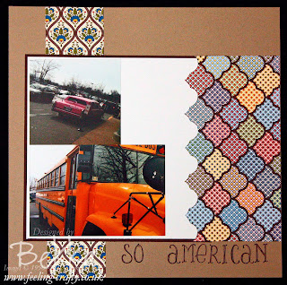So American Scrapbook Page featuring the Comfort Cafe Papers by UK based Stampin' Up! Demonstrator Bekka Prideaux - check her blog each Saturday for Scrapbooking Ideas