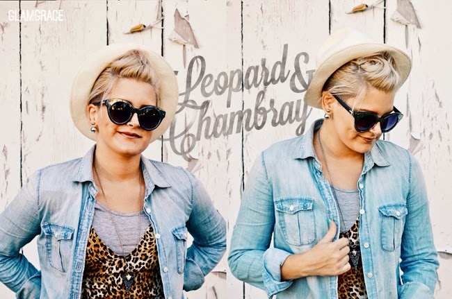 leopard print & chambray - unpolished grunge Jcrew outfit