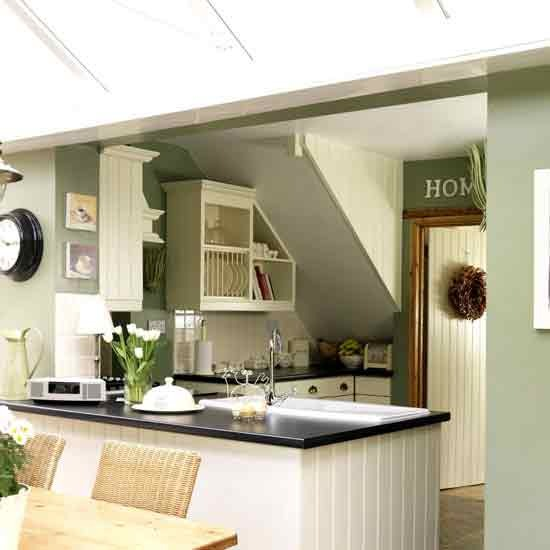 New home interior design country kitchens for Modern green kitchen designs