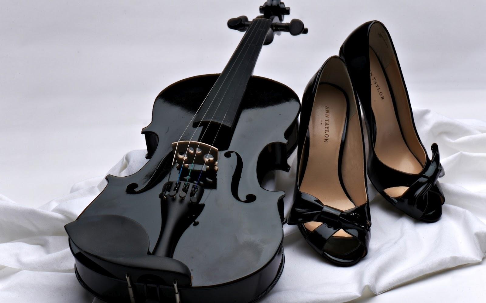 Black shoes and black violins for girls