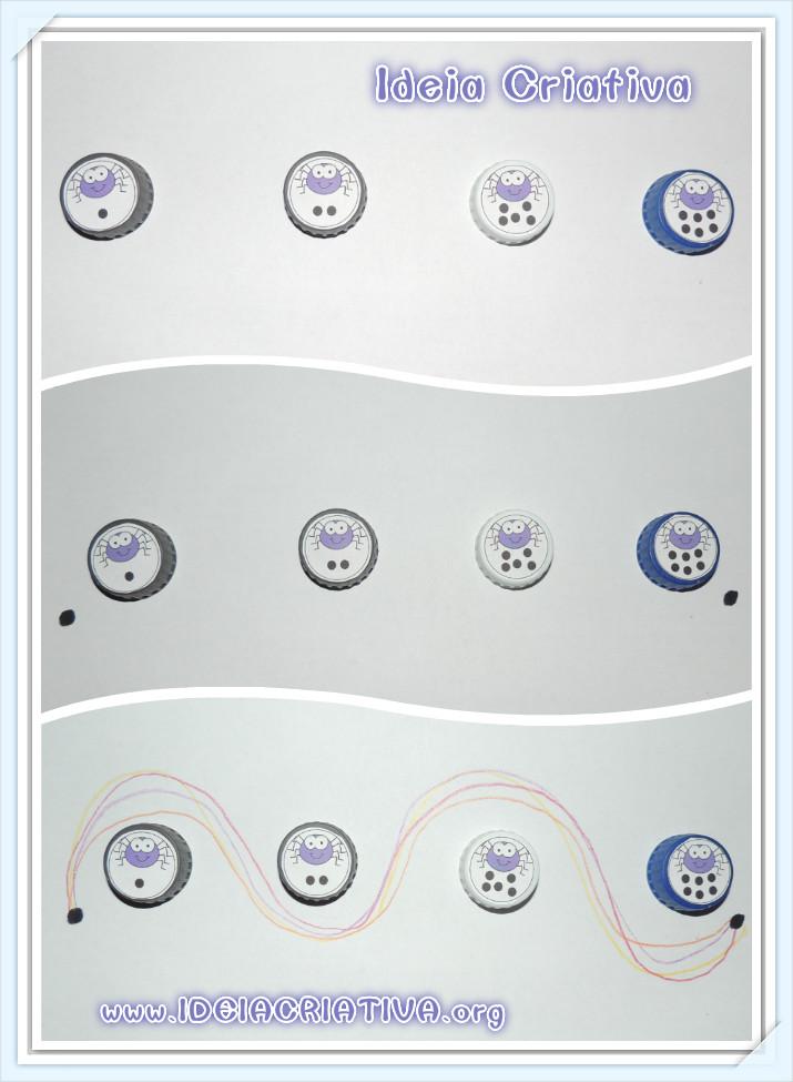 Atividade Coordenação Motora Material Concreto Tampas de Garrafa Pet.