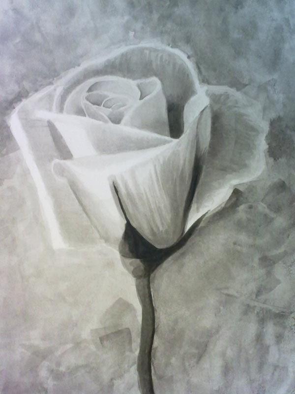 copia de una foto de una rosa con tinta china