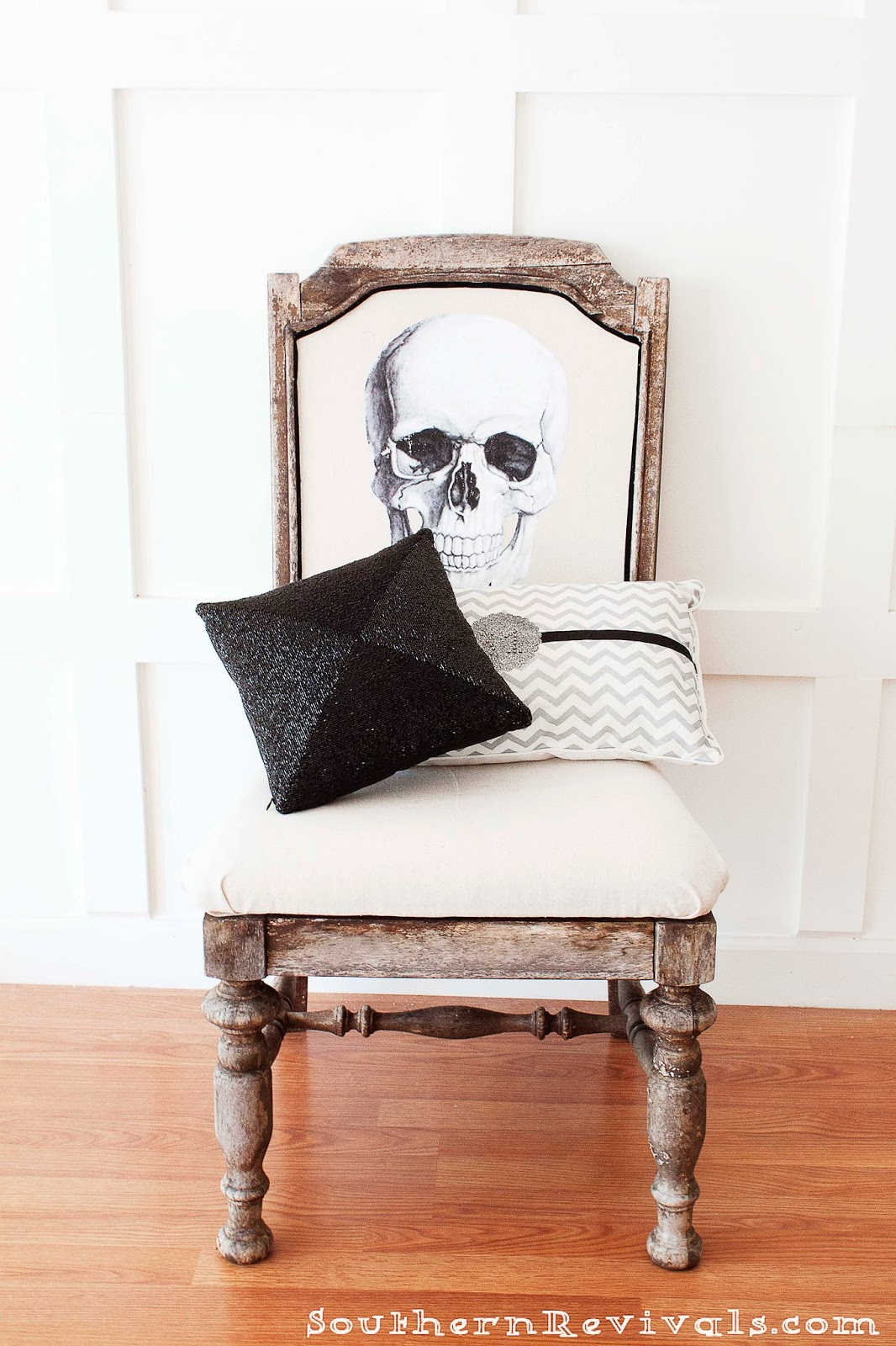 diy halloween skeleton skull chair a fun upcycle for a ruined chair southern revivals