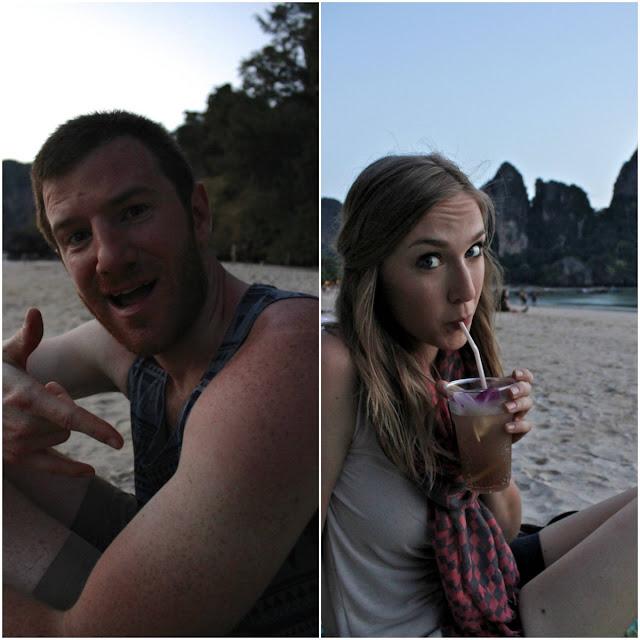 drinks on the beach in railay beach thailand
