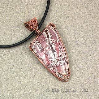 Feathery Maroon Pink Dendrites Sonora Dendritic Rhyolite Jasper Pendant