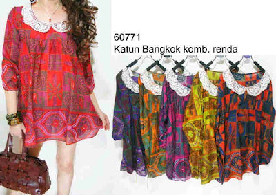 Blouse Katun Bangkok Kombinasi Renda Kode 60771